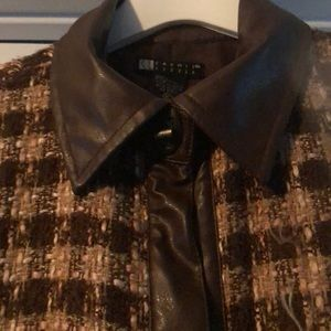 Carole Little Jackets & Coats - Brown & Beige Tweed & Faux Leather Coat